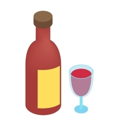 Wine bottle and glass isometric 3d vector image vector image