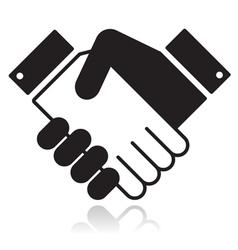 Handshake glossy black icon vector
