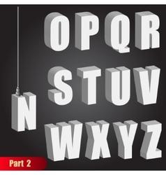 Hanging light bulb letters 3d isometric alphabet vector image