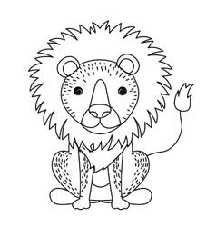 Lion cute wildlife icon vector