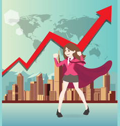superhero business woman cartoon with graph vector image vector image