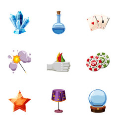 wizard stuff icons set cartoon style vector image vector image