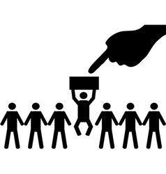 A person is selected from a group for employment vector image