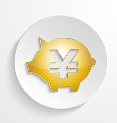 Button Yen Piggy bank design with shadow effect vector image