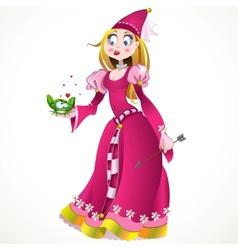 Charming princess holding a frog vector