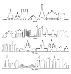 set of cities silhouette paris berlin moscow vector image vector image