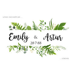 Wedding invite invitation card floral greenery vector