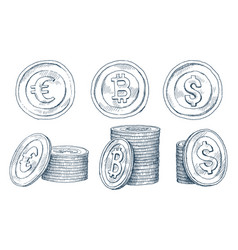 a set of icons of coins on the isolated white vector image