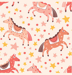 Abstract carnival horses seamless pattern magical vector