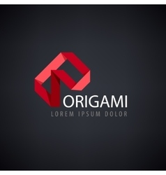 abstract red logo origami vector image