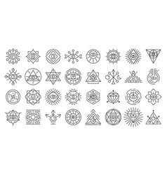 Alchemy icons set outline style vector