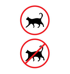 allowed and prohibited cats signs isolated on back vector image