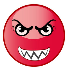 angry emoticon emoji red smiley vector image
