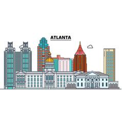 Atlanta united states flat landmarks vector