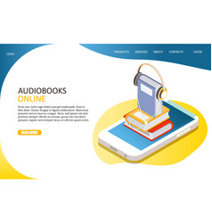audiobooks online landing page website vector image