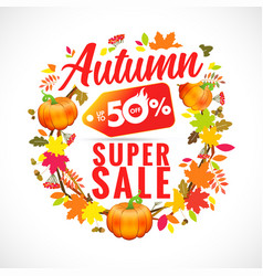 autumn super sale with wreath pumpkin vector image