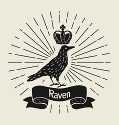 background with black raven hand drawn inky bird vector image