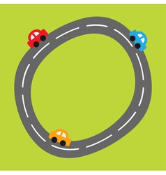 Background with curve round road and cartoon cars vector