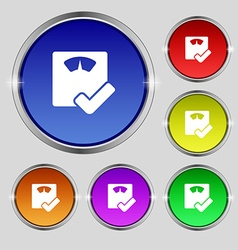 Bathroom scales icon sign Round symbol on bright vector