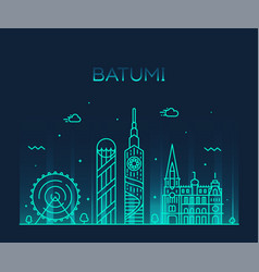 batumi skyline georgia city linear style vector image