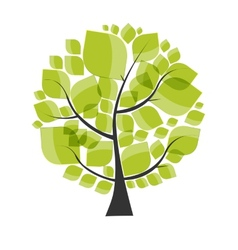 Beautiful Green Tree on a White Background vector image