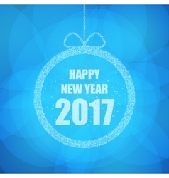 Beautiful greeting card with the new 2017 in blue vector image