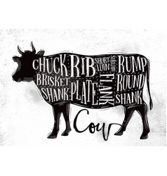 Beef cutting scheme vector