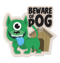 beware dog sticker vector image