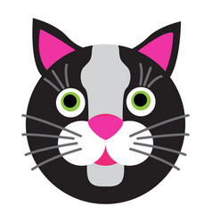 black cartoon cat with green eyes on white vector image