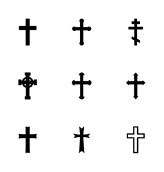 black crosses icon set vector image
