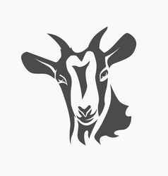 black goat face stylized symbol agriculture vector image