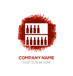 Bottles on bar counter icon - red watercolor vector