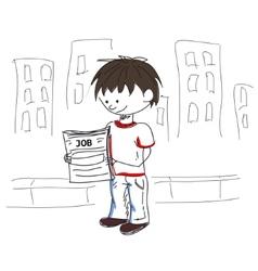 Boy look for sketch vector image