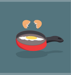 broken egg shell with yolk on red pan cooking vector image