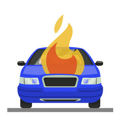 burning car accident icon automobile in fire vector image