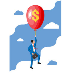 businessman in suit flying a balloon vector image