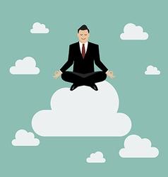 Businessman meditating on a cloud vector