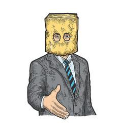 Businessman paper bag lend hand for handshake vector
