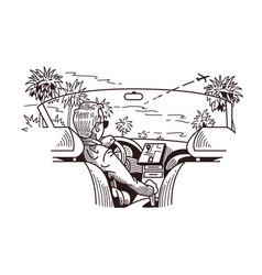 Car cab view vector