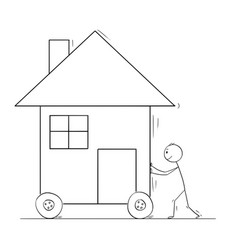 cartoon of man pushing or moving family house on vector image
