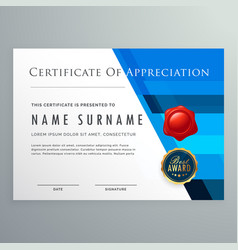 Certificate of appreciation modern template design vector