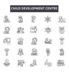 Child development centre line icons for web and vector