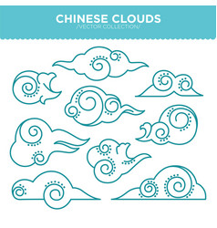 Chinese swirly clouds thin blue outlines vector