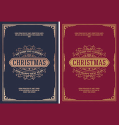 christmas card retro typography and ornament vector image