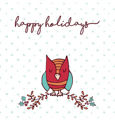 Christmas decoration nature cute owl cartoon card vector