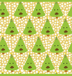 christmas tree with mustache fun pattern vector image
