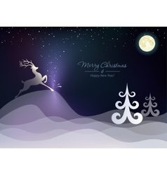 Christmas winter landscape with a deer vector image