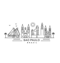 city sao paulo in outline style on white vector image