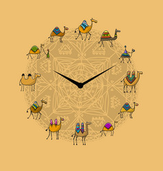 Clock with camels design vector