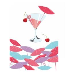 Cocktail with cherries vector